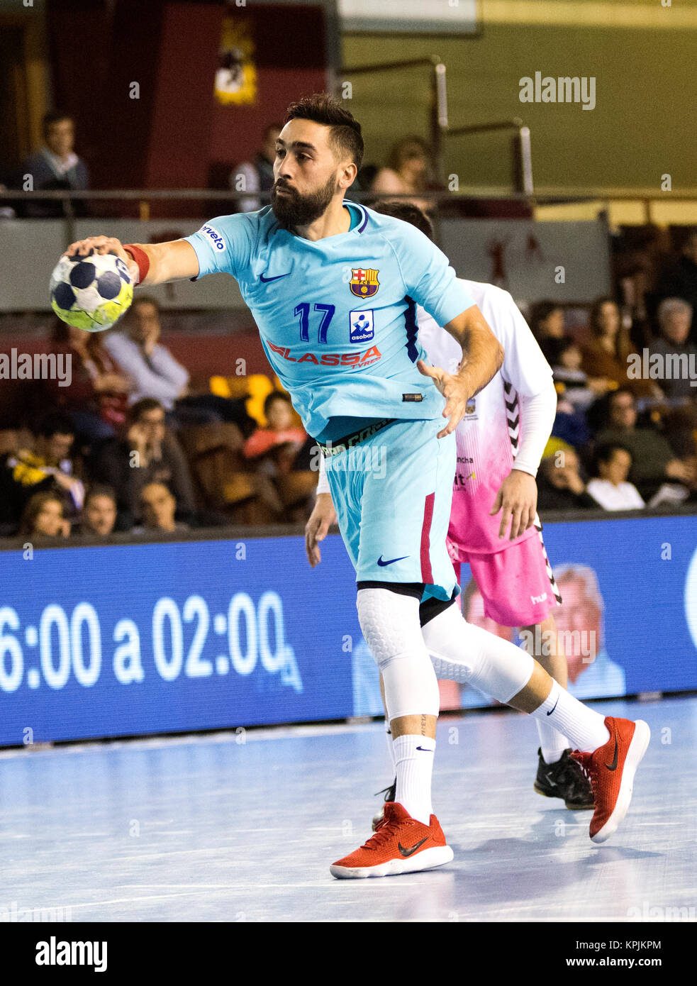 Leon, Spain. 16th December, 2017. Valero Rivera (FC Barcelona) in action during the handball match of 2017/2018 - Stock Image