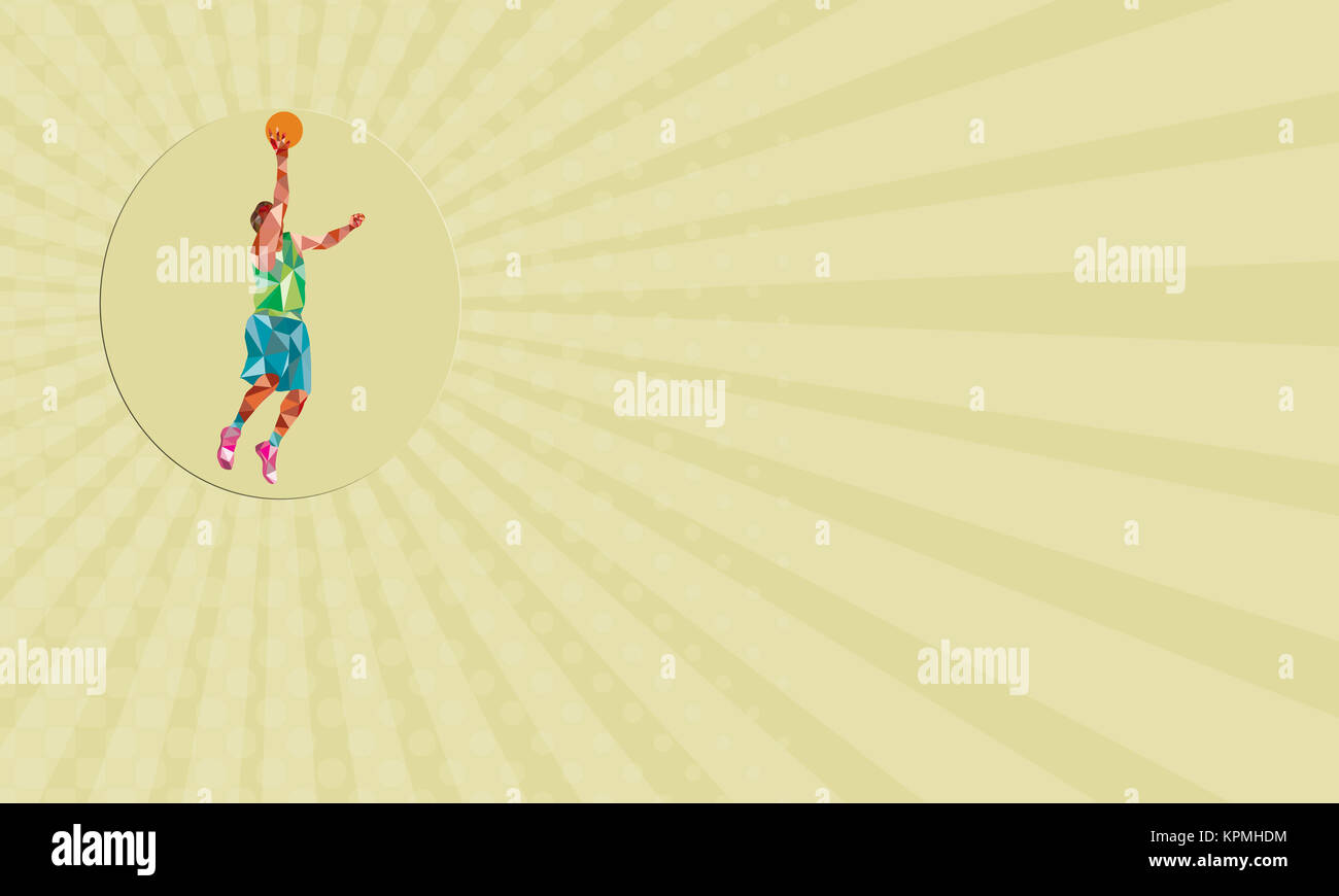 Business card Basketball Player Lay Up Rebounding Ball Low Polygon ...