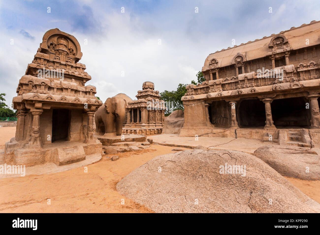 Asia, India, Tamil Nadu, Mamallapuram,Five Rathas - Stock Image