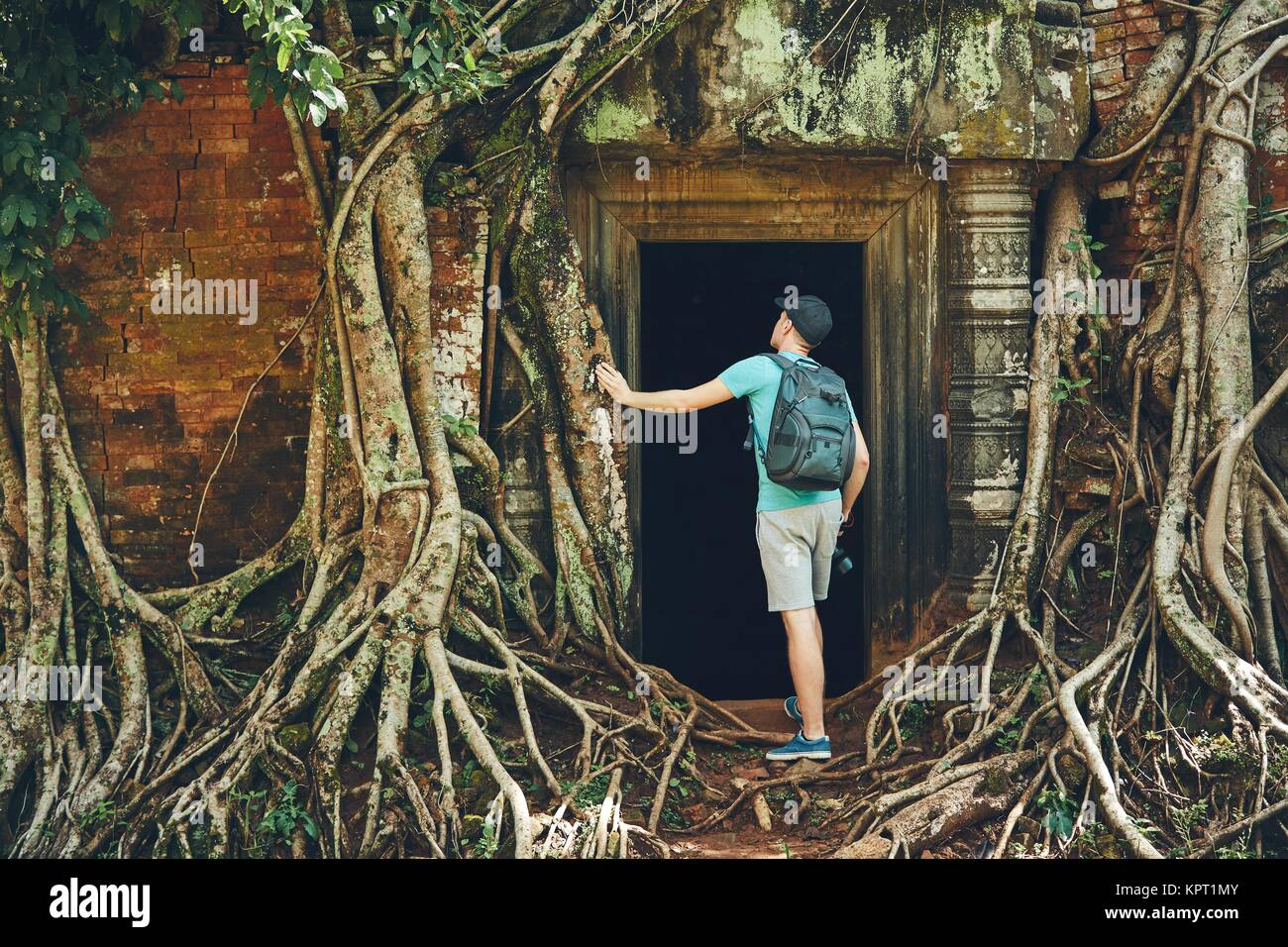 Young man with backpack coming to ancient monuments under the giant roots of the tree near Siem Reap (Angkor Wat) - Stock Image