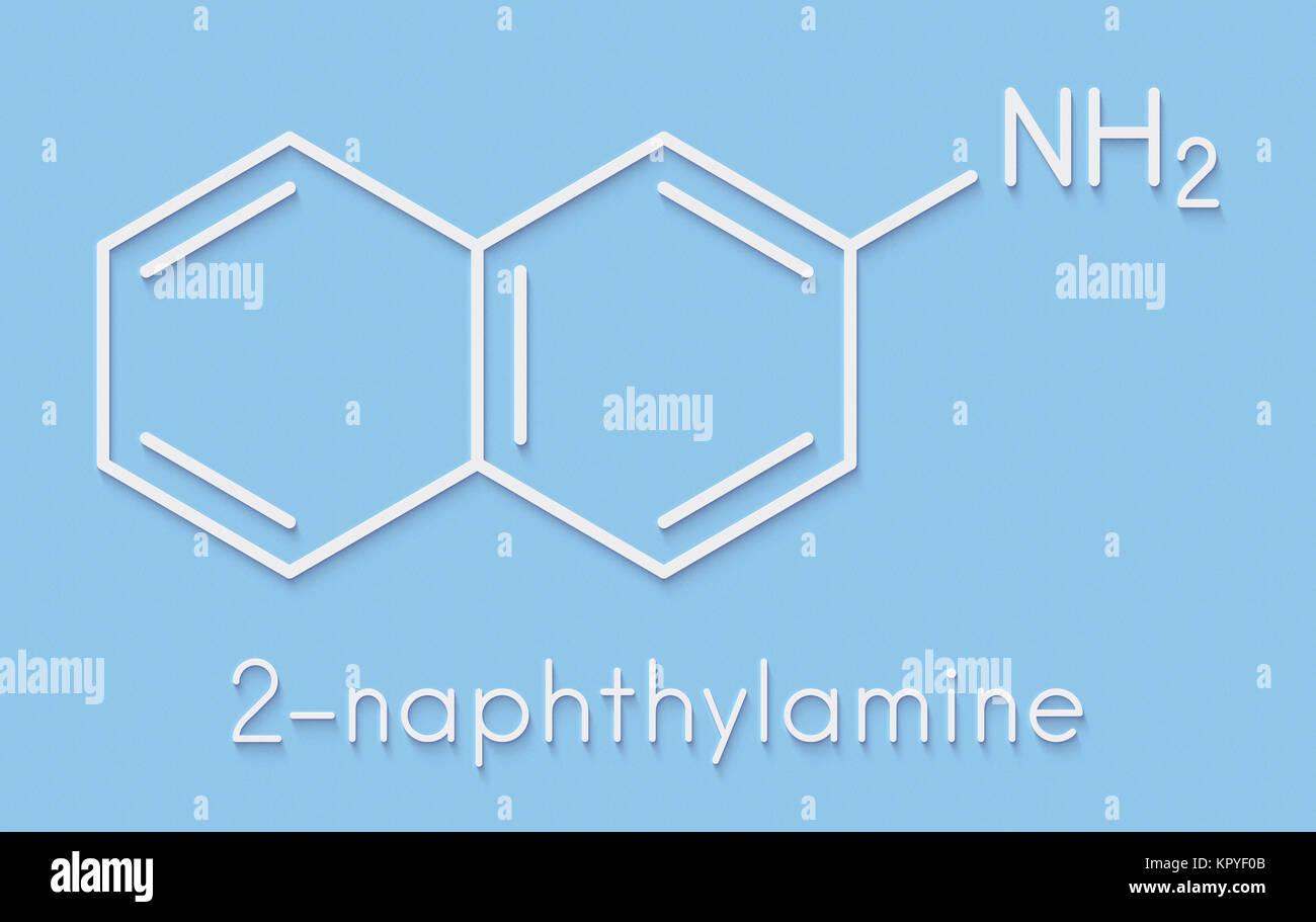 2-naphthylamine carcinogen molecule. sources include cigarette smoke