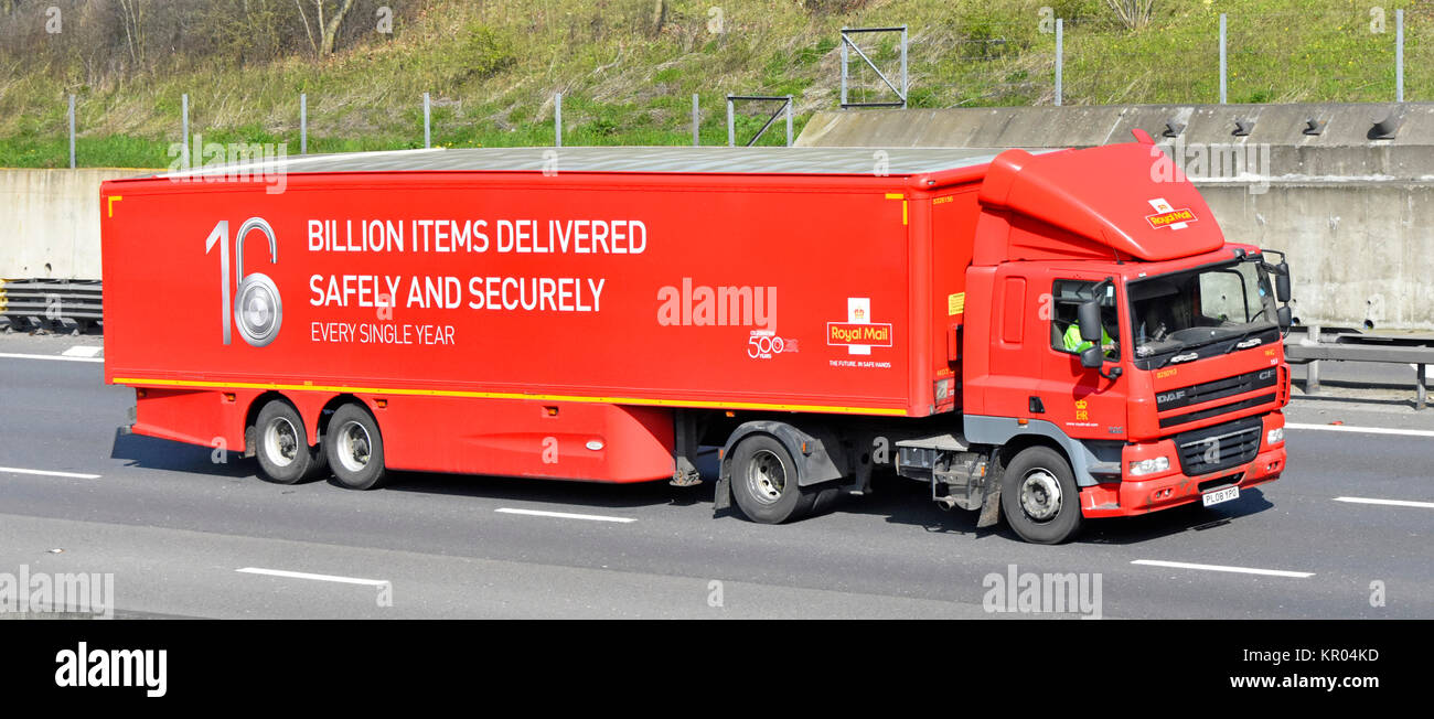 UK motorway Royal Mail lorry trailer promoting delivering billion items safely and  securely & celebrating 500 - Stock Image