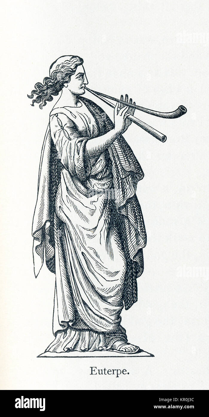 This illustration dates to 1898 and shows a statue of Euterpe. Euterpe was honored as the Muse of music, song, and - Stock Image