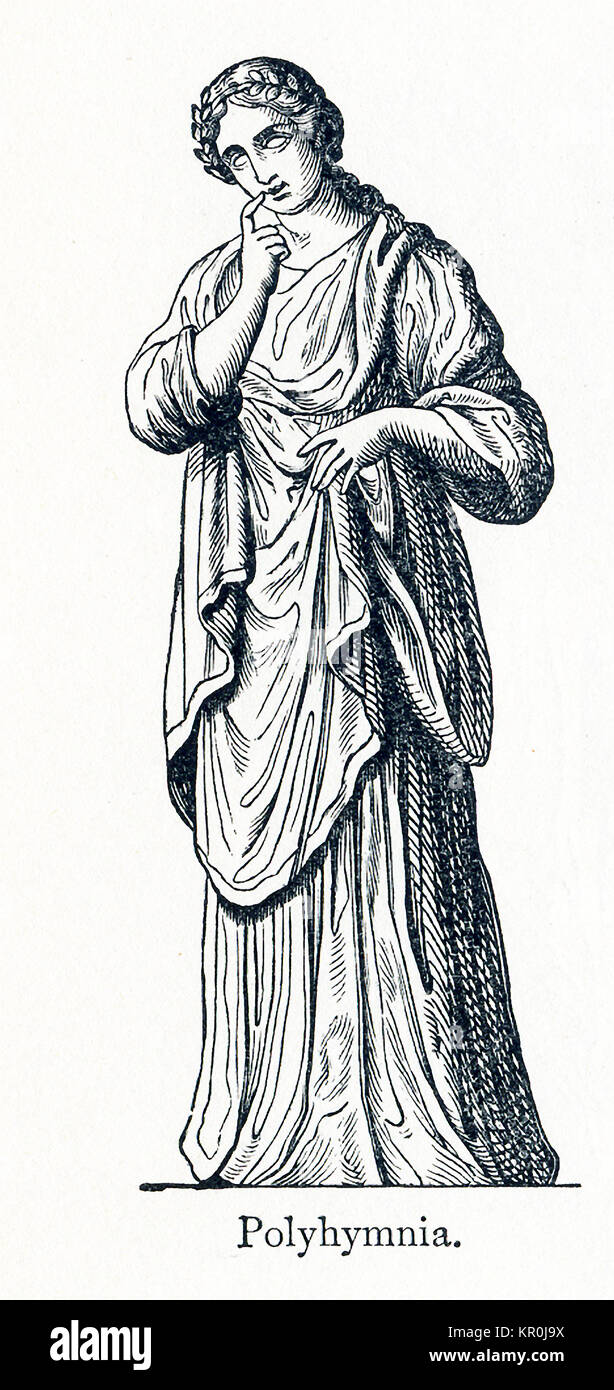 This illustration dates to 1898 and shows a statue of Polyhymnia. Polyhymnia was honored as the Muse of hymns. In - Stock Image