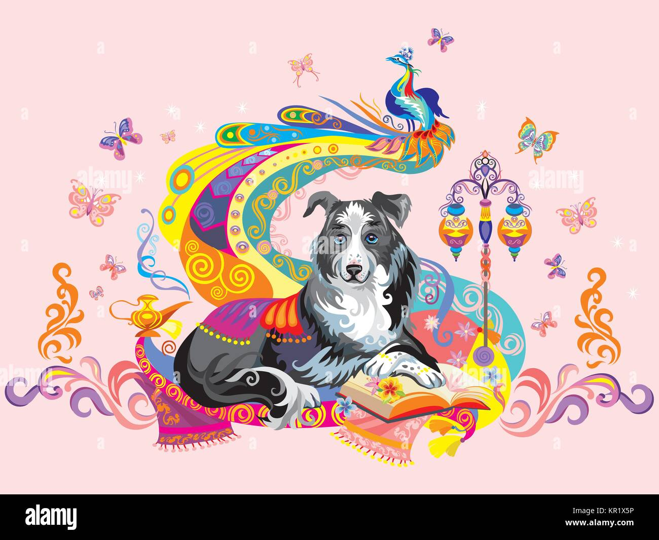 vector colorful image with dog border collie isolated on pink background the symbol of new year 2018