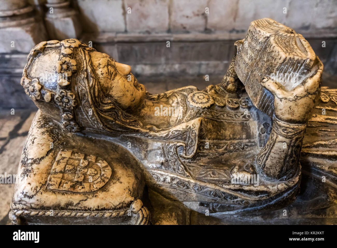 Lisbon, Portugal, August 7, 2017: 14th century tomb of Maria de Vilalobos, wife of a famous knight Lopo Fernandes - Stock Image