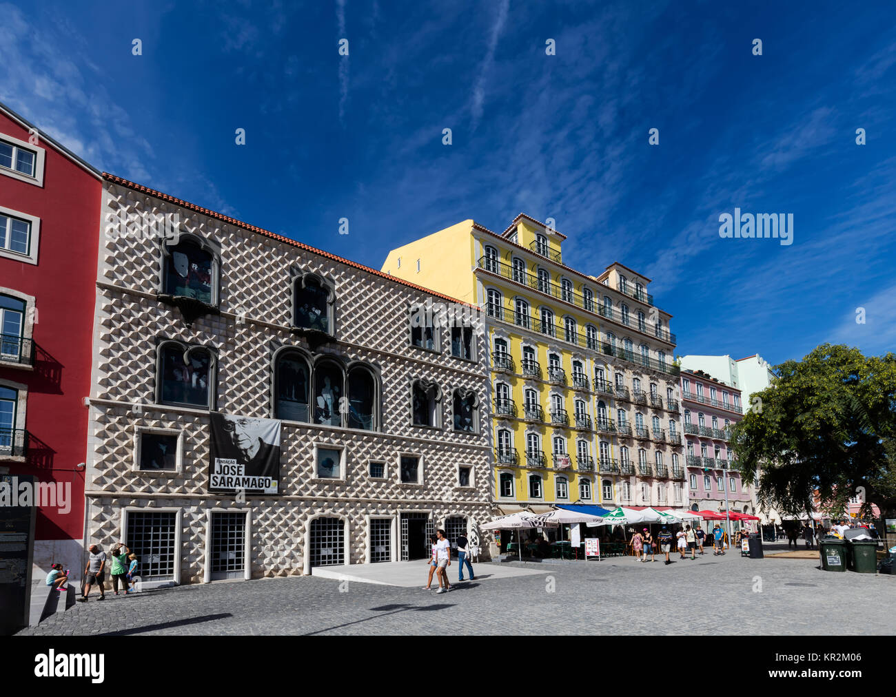 Lisbon, Portugal, August 7, 2017: Casa dos Bicos, a historical house, built in the early 16th century with a spiked - Stock Image