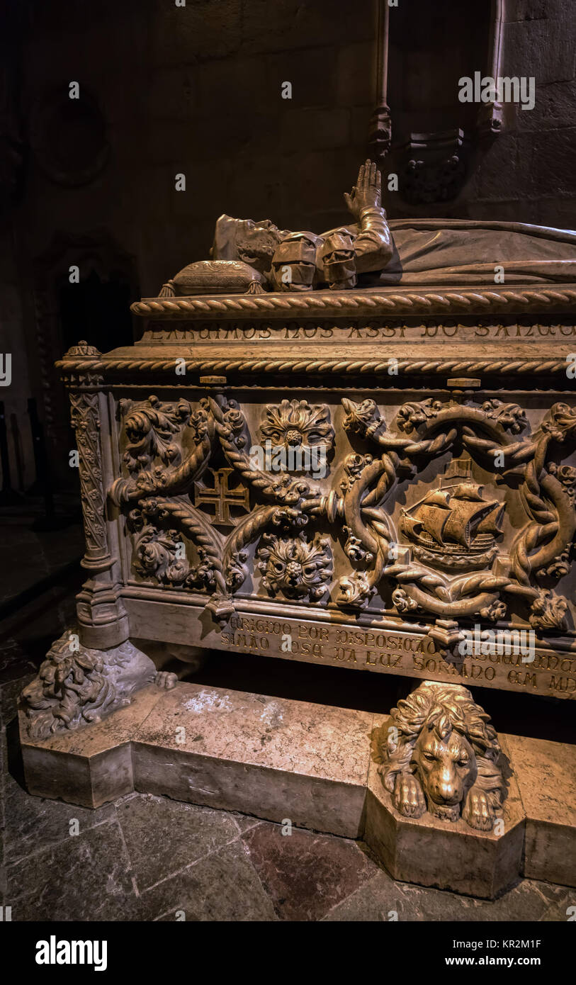Lisbon, Portugal, August 6, 2017: Tomb of navigator Vasco da Gama, carved by Costa Mota in 1894, located in the - Stock Image