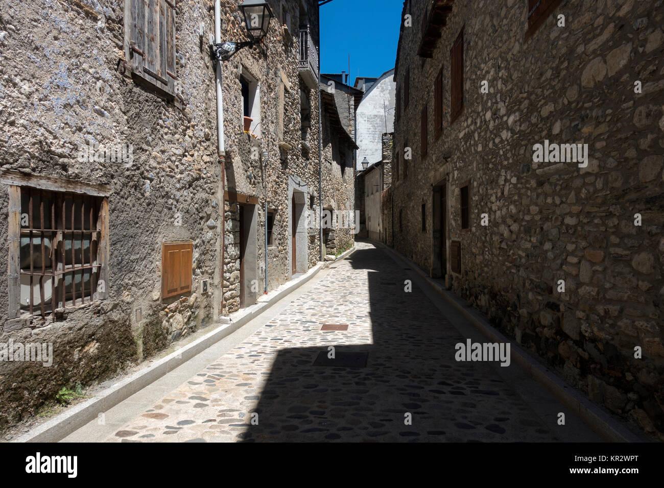 cobbled stones street.Benasque.Huesca.Spain - Stock Image