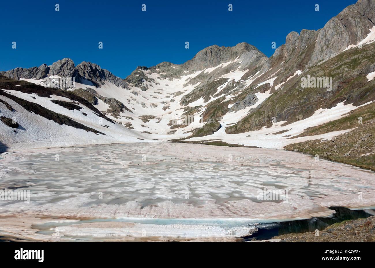 Frozen lake.Posets-Maladeta Natural Park.Pyrenees.Huesca.Spain - Stock Image