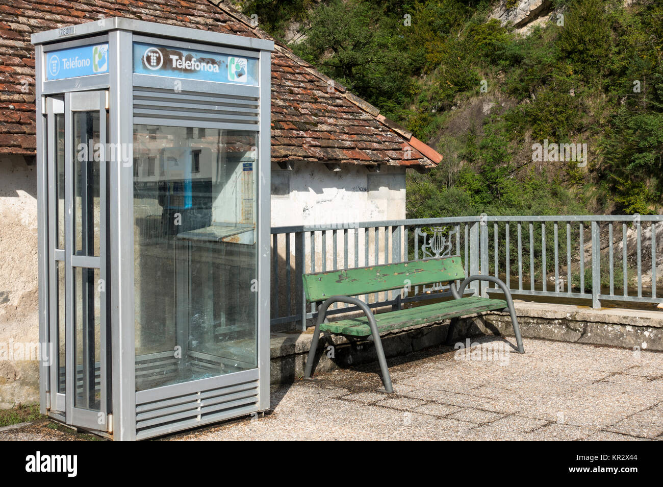 Old telephone booth.Roncal village.Navarra.Spain - Stock Image
