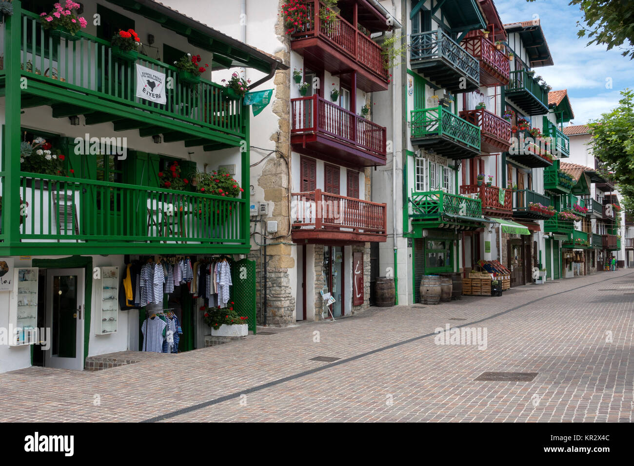 Traditional houses.Fuenterrabia (Hondarribia).Vasque Country.Spain - Stock Image