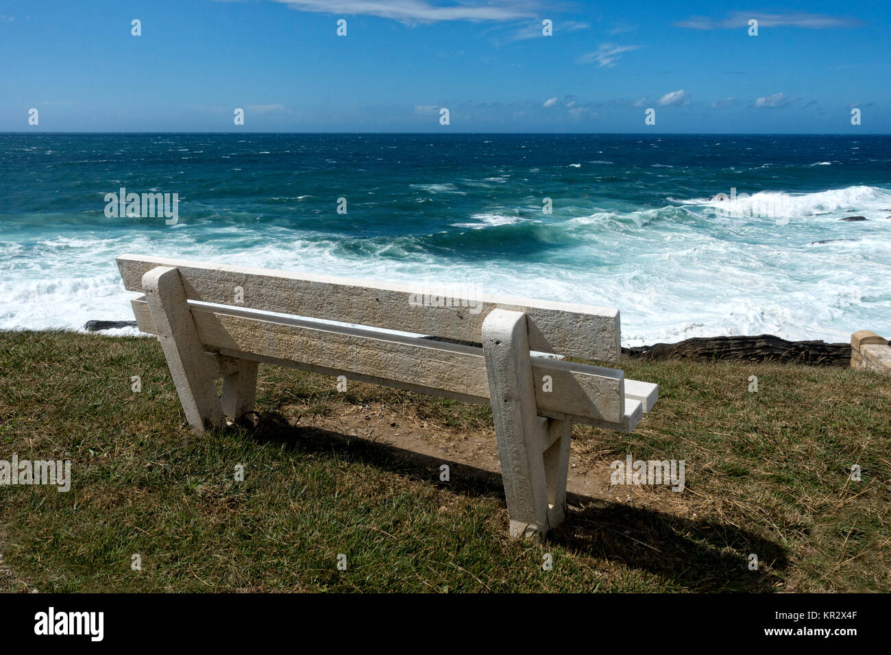 Bench overlooking the sea.Cabo Higuer.Guipuzcoa.Vasque country.Spain - Stock Image