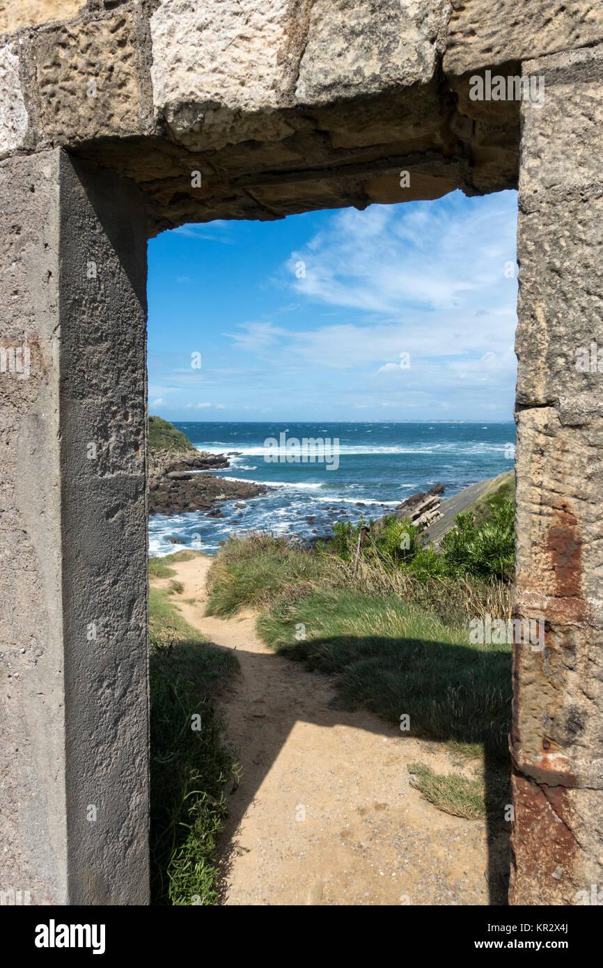 Door to the ocean.Cabo Higuer.Spain - Stock Image