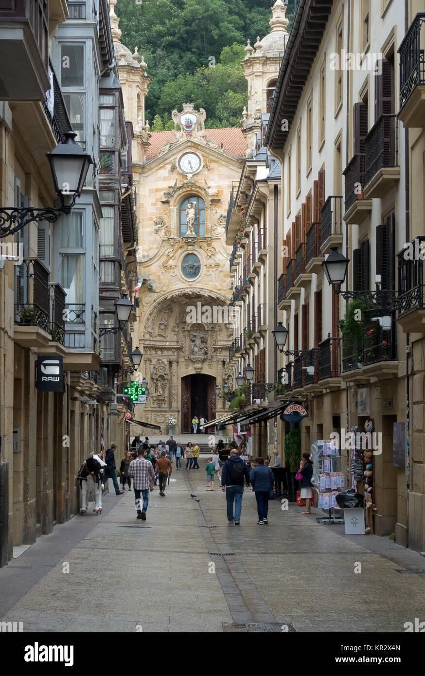 Old town and Basilica Santa Maria del Coro.San Sebastian (Donostia).Spain - Stock Image