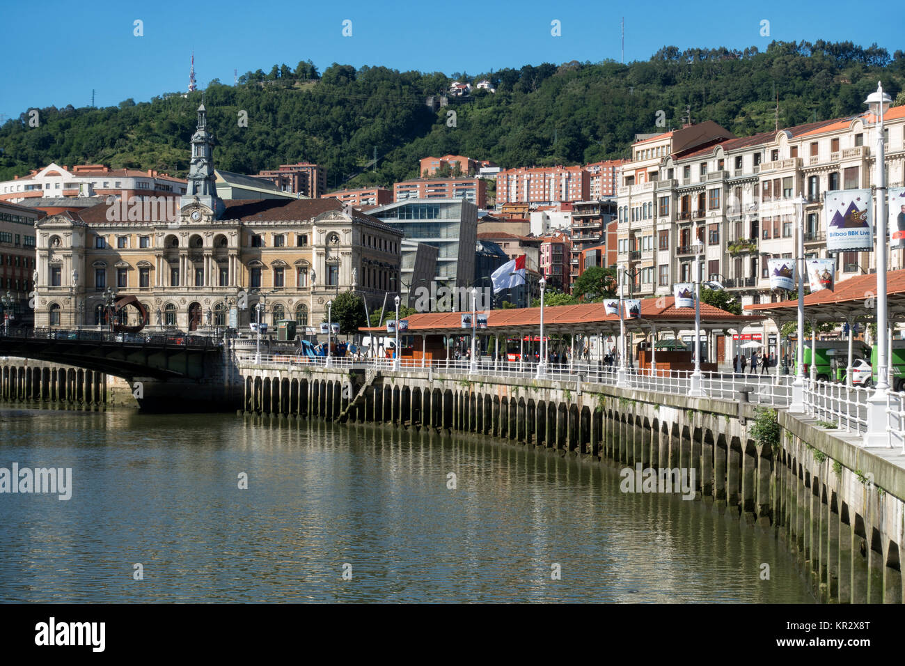 Bilbao ria. (Ria del Nervión).On the left side the Town Hall.Bilbao.Spain - Stock Image