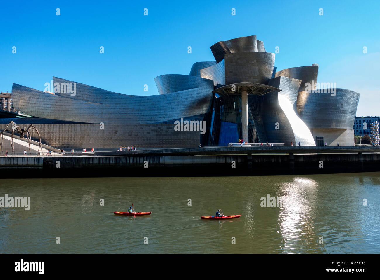 Guggenheim Museum Bilbao.Spain.Architect:Frank Gehry - Stock Image