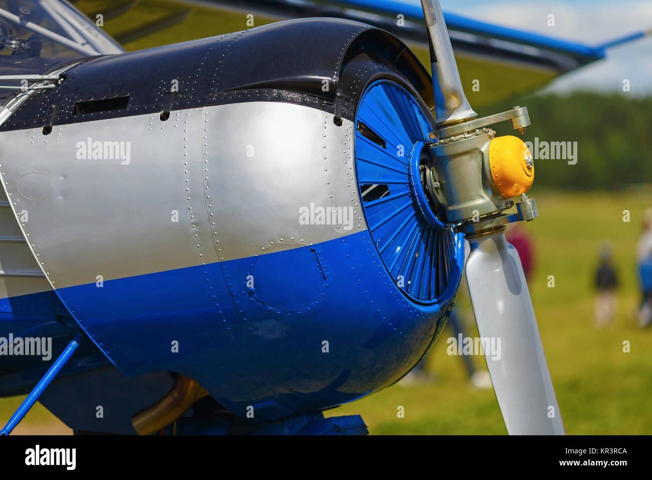 Blue airplane fuselage - Stock Image