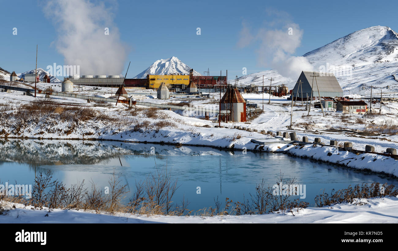 Kamchatka Peninsula, Russia: winter panorama on Mutnovskaya Geothermal Power Station (Mutnovskaya GeoPP-1) using - Stock Image