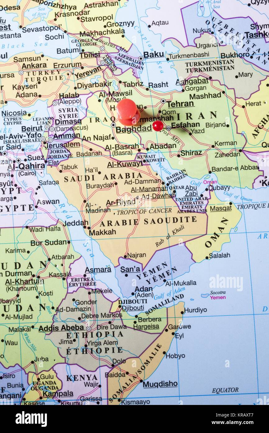 baghdad map with red pin Stock Photo: 169270983 - Alamy