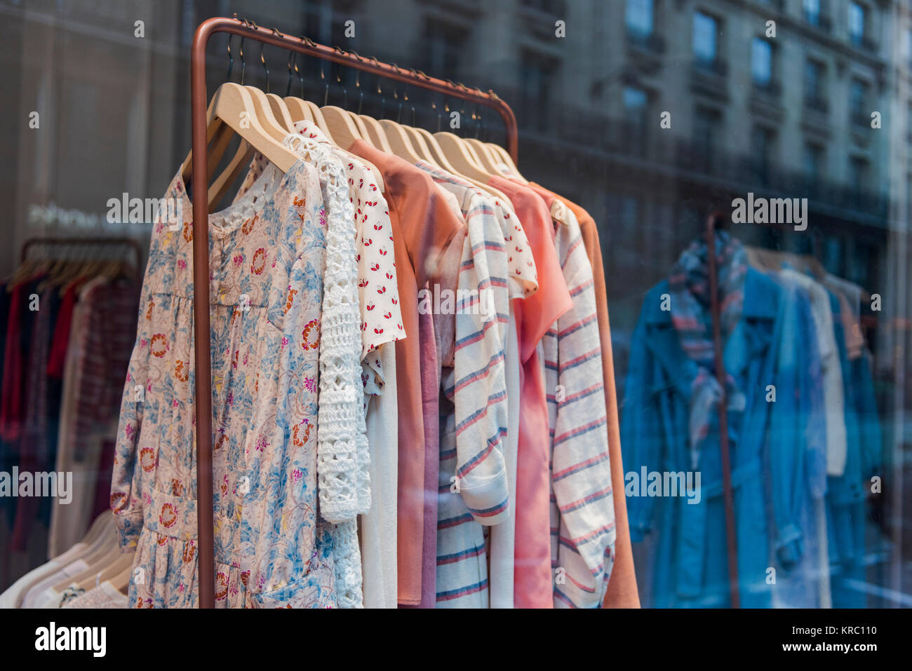 39b8786179e Fashionable clothes in a boutique store in Paris Stock Photo ...