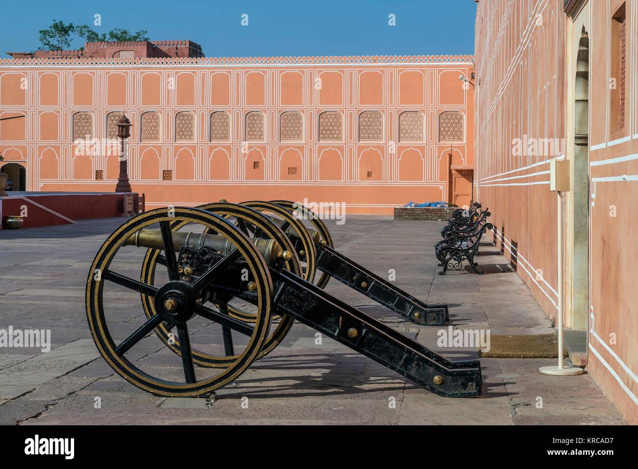 Cannons inside Jaipur City Palace, Rajasthan, India - Stock Image