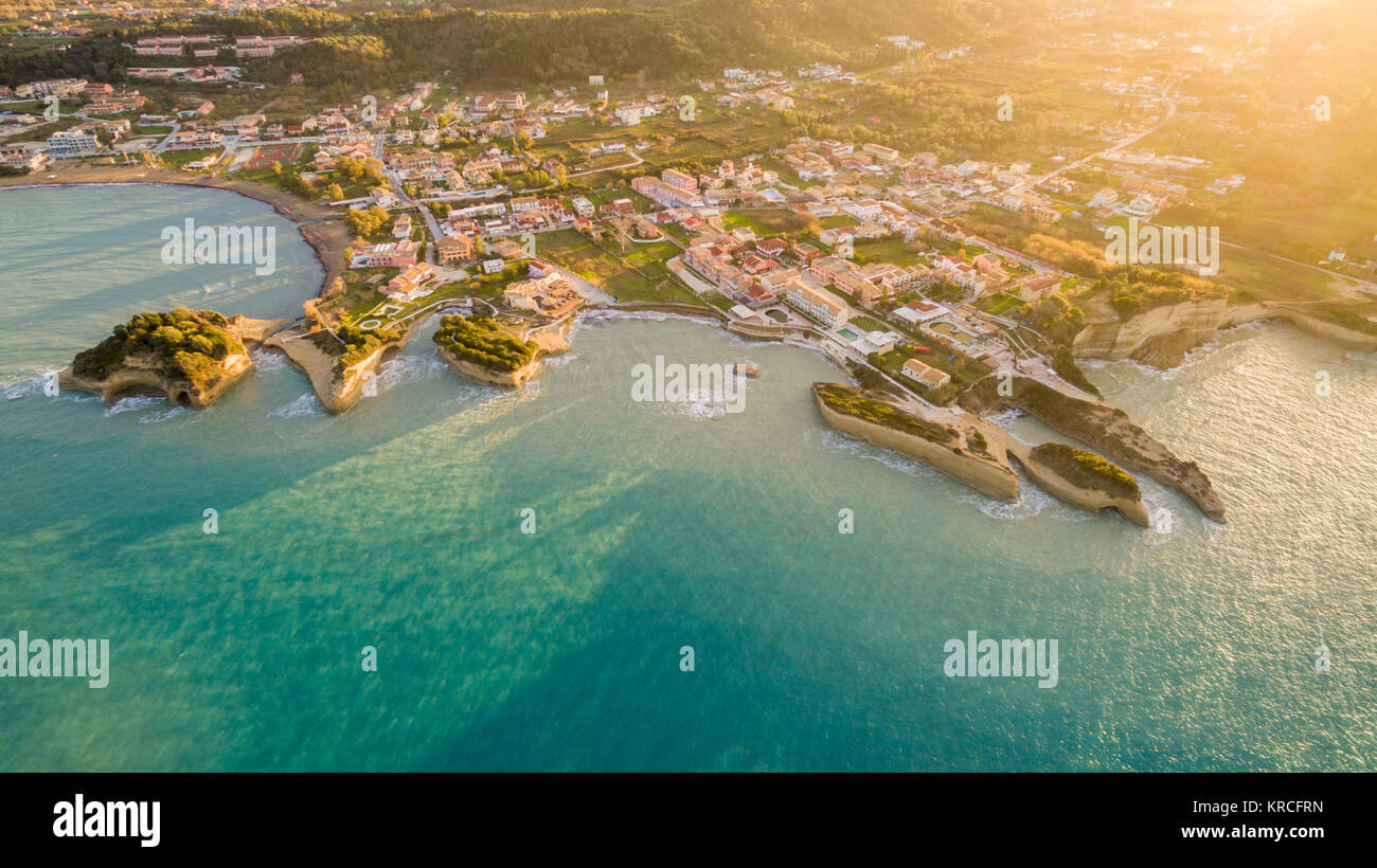 Aerial drone view of Sidari resort in North Corfu Greece. Stock Photo