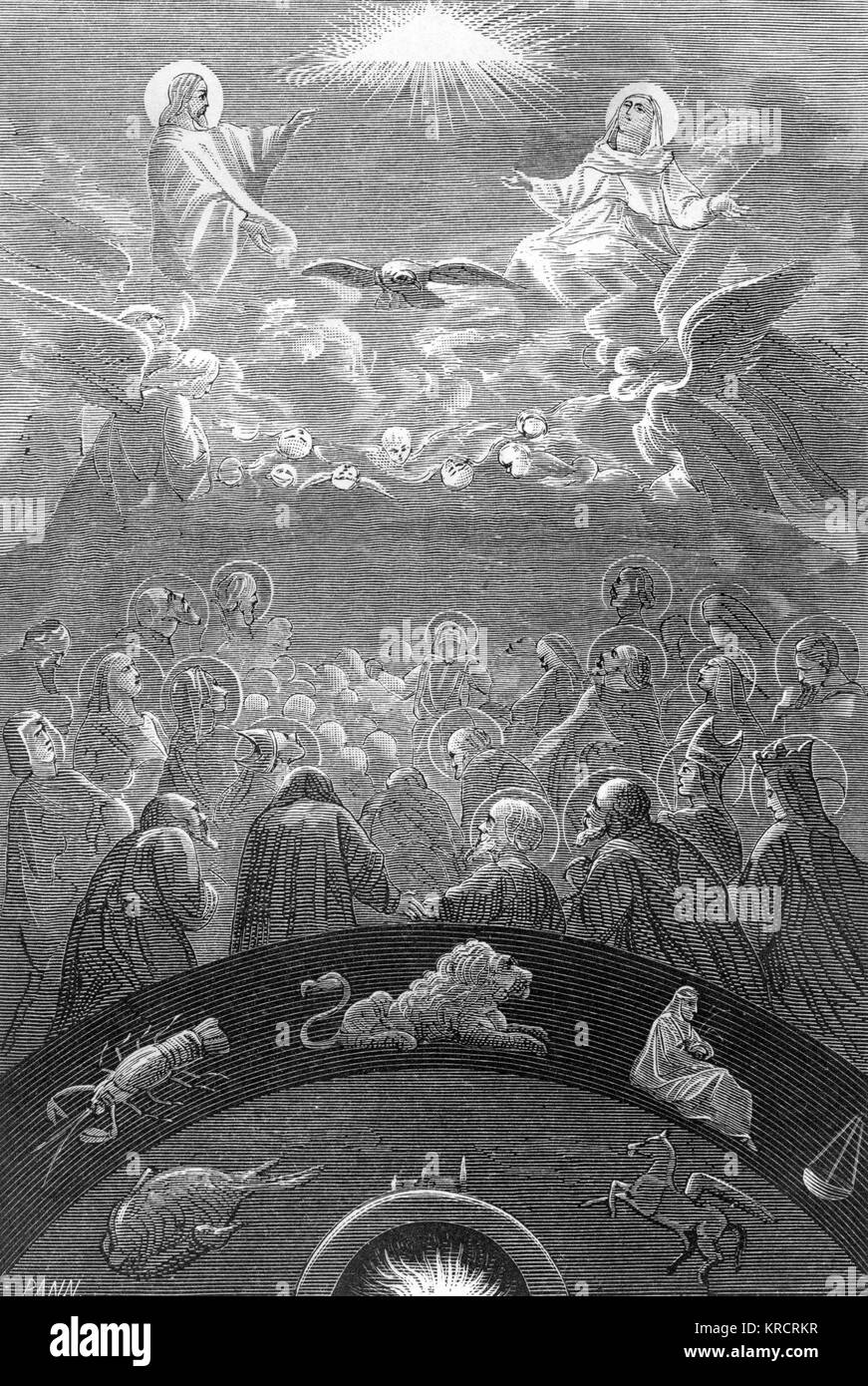 The Christian concept of the heavens Date: medieval - Stock Image