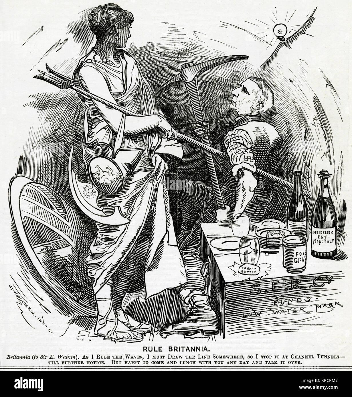 Britannia decides against the Channel Tunnel. 1882 - Stock Image