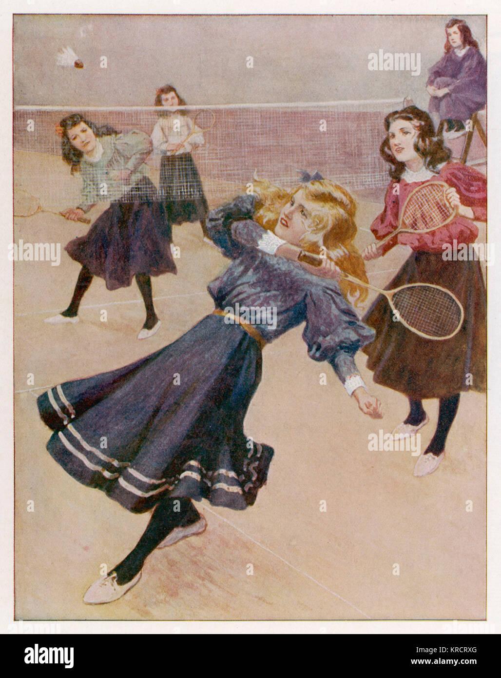 Girls playing badminton Date: 1908 - Stock Image