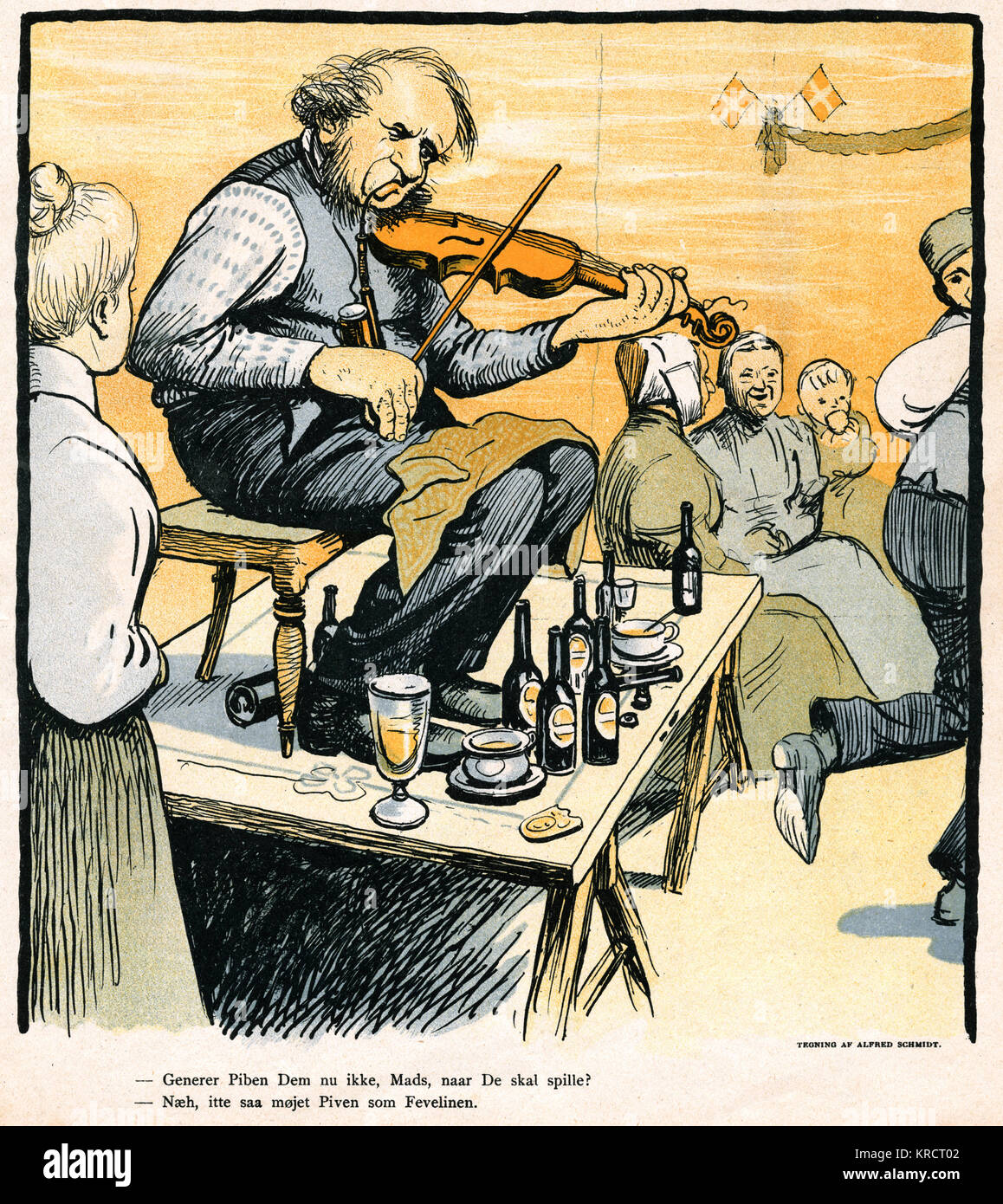 The fiddler at a country dance, Denmark Date: 1902 - Stock Image