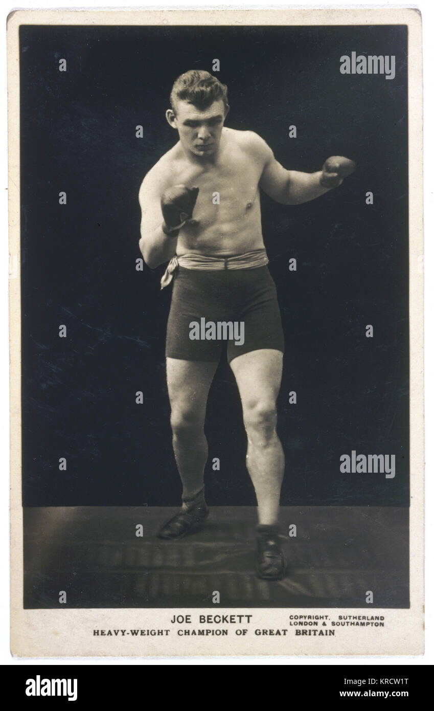 Joe Beckett (1892-1965), Heavyweight Boxing Champion of Great Britain, in action. Date: 1920s - Stock Image