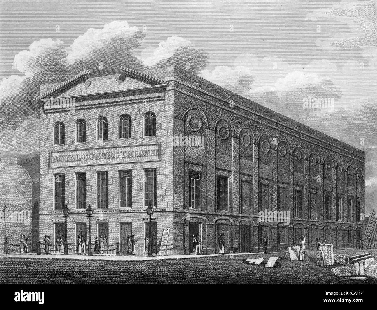 Illustration of the exterior when this London theatre was still called the Royal Coburg Theatre, named after its - Stock Image