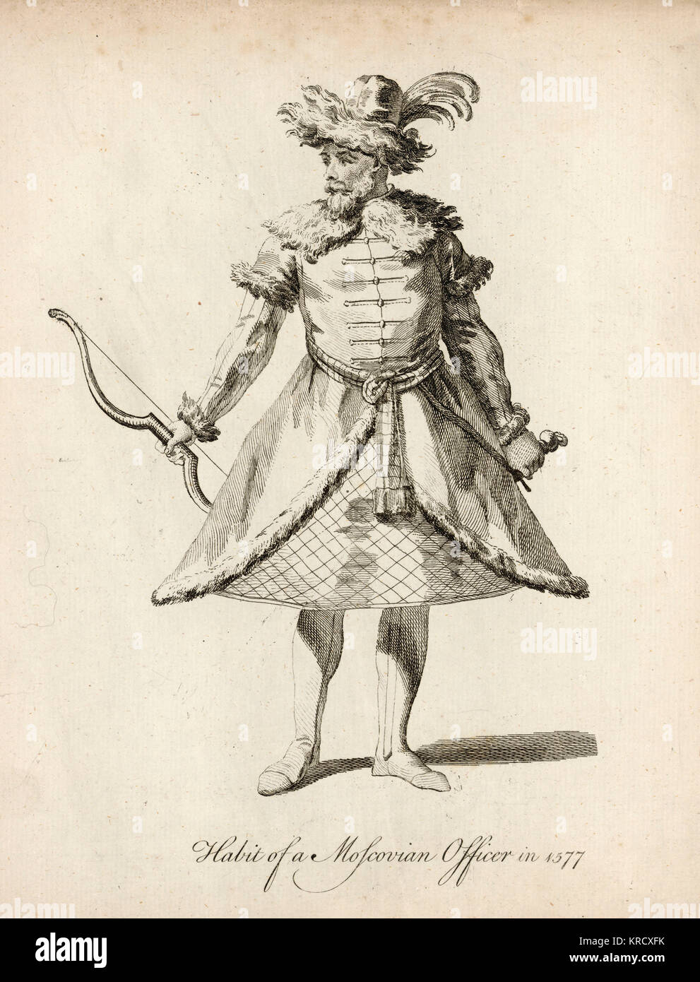 RUSSIA  A Moscovian officer.       Date: 1577 - Stock Image