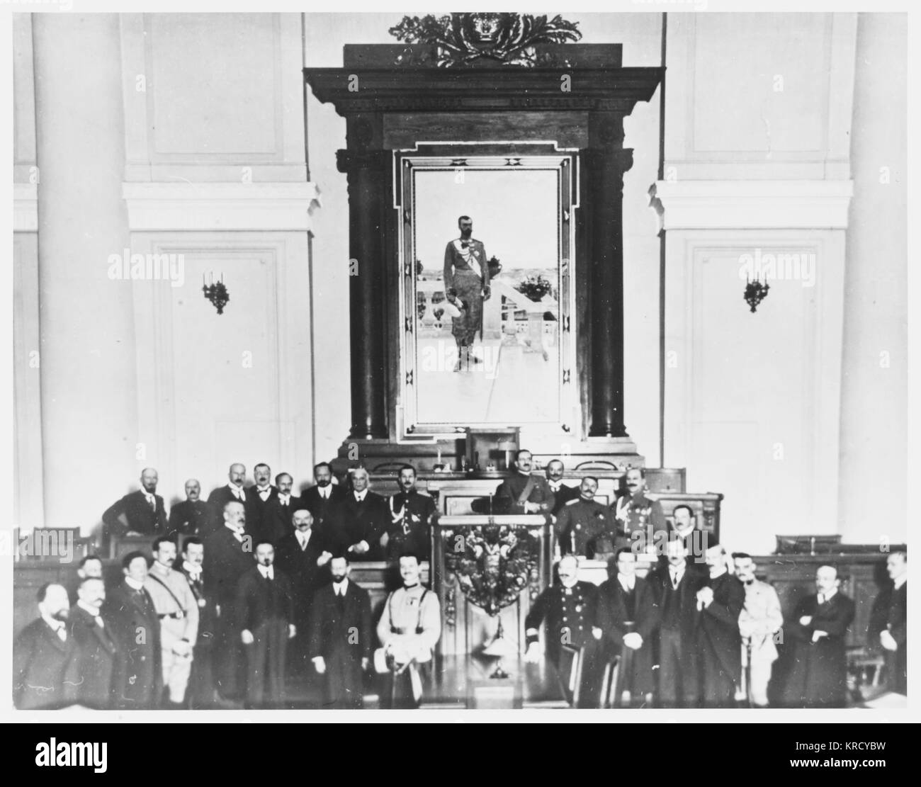 Reception at the Duma,  Petrograd, for representatives  of foreign military missions,  to discuss the progress and - Stock Image