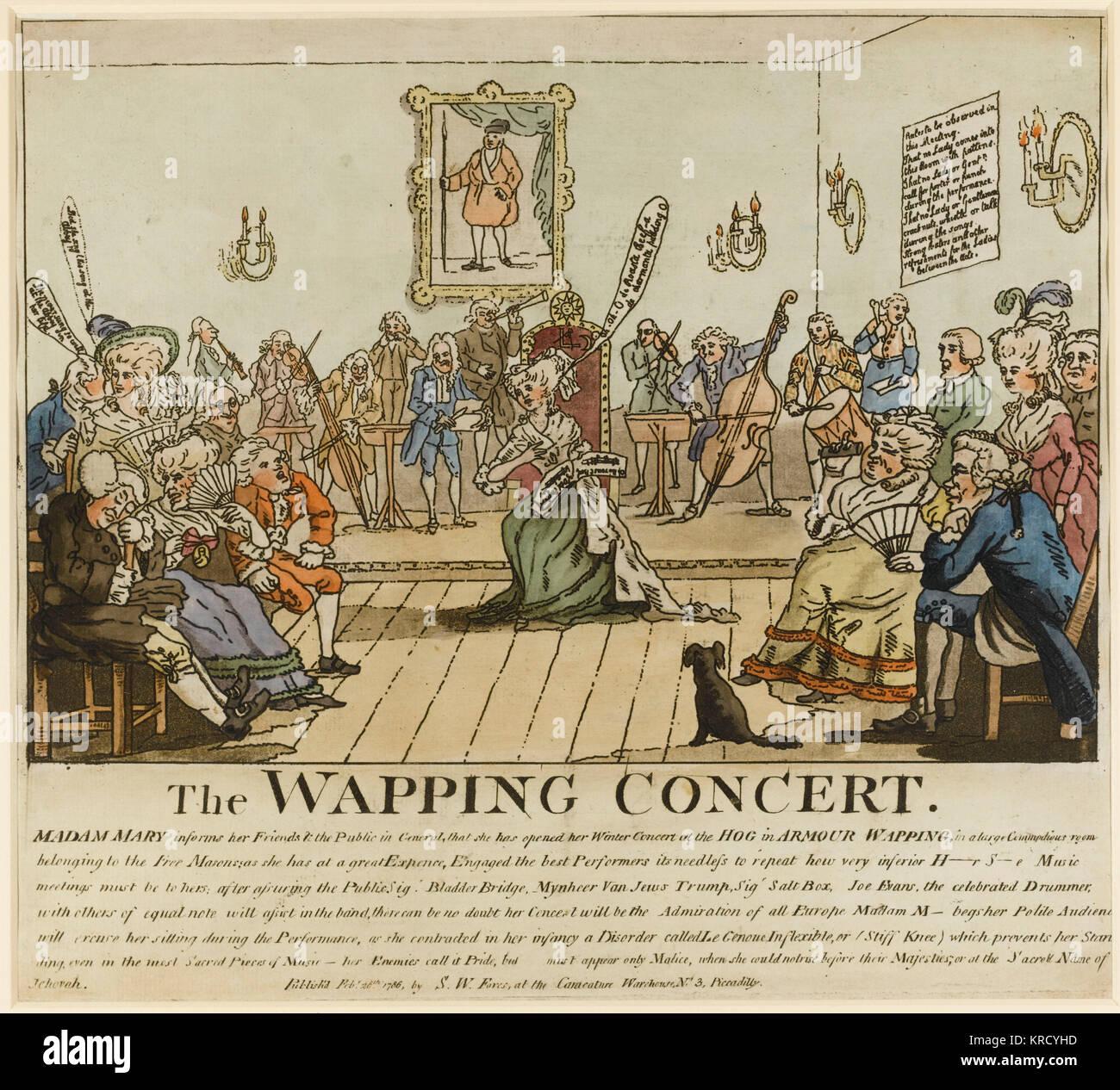 Satirical cartoon, The Wapping Concert.  A satire on the German singer, Madame Mara (Gertrud Elizabeth Mara, nee - Stock Image