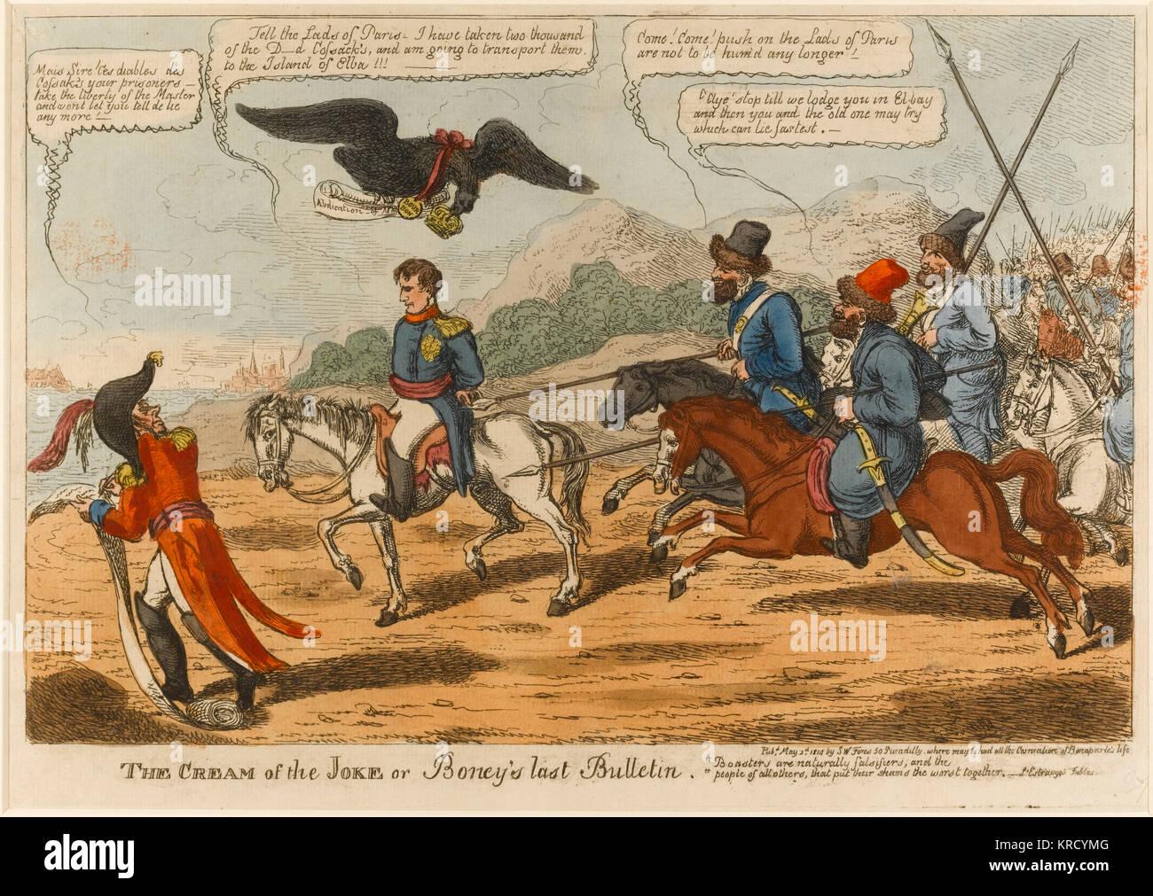 Satirical cartoon, The Cream of the Joke or Boney's last Bulletin.  Napoleon, a prisoner, rides on his famous - Stock Image