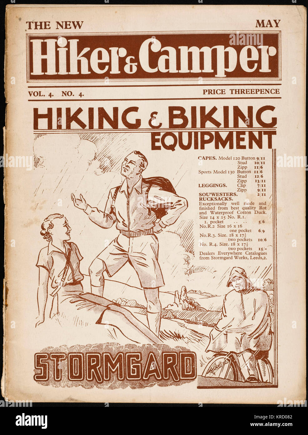 Front cover of The Hiker and  Camper, the magazine advising  on one of the premier hobbies  of the thirties.  Feature - Stock Image