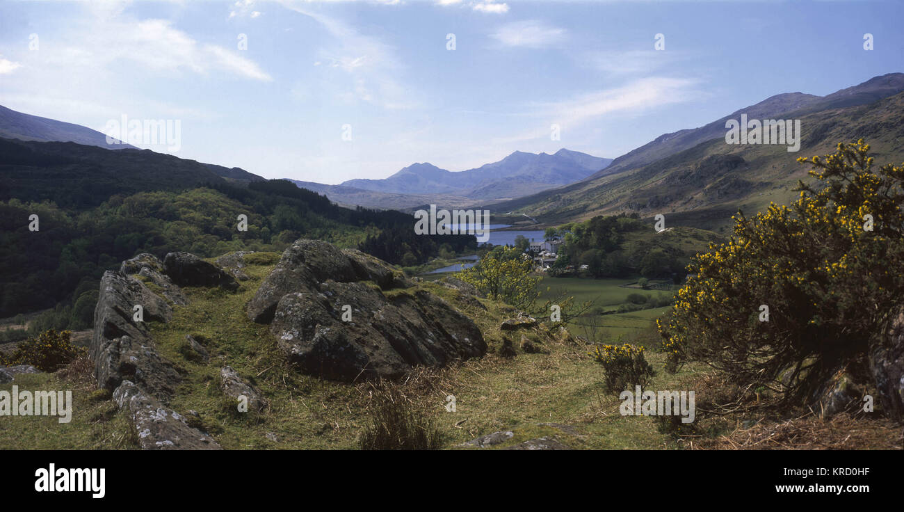View toward Snowdon from above Capel Curig, Gwynedd, Wales     Date: circa 2000 - Stock Image