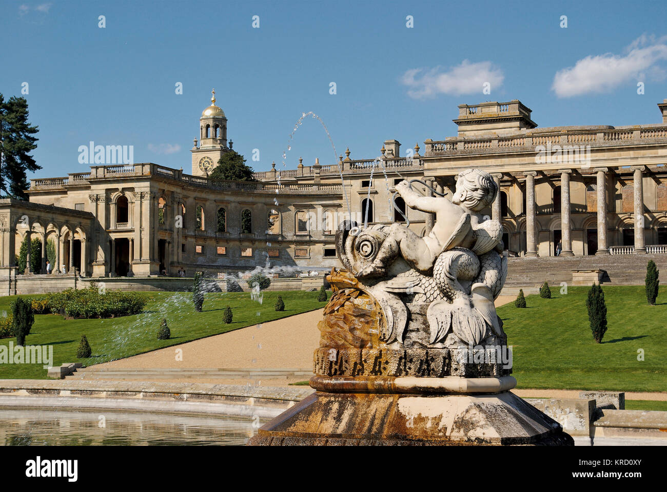 A detail from the Perseus Fountain at Witley Court, Worcestershire, with the house itself in the background.  The - Stock Image