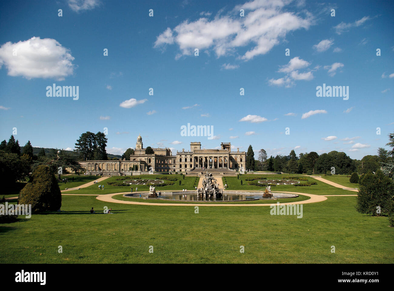 General view of Witley Court, Worcestershire, with the Perseus and Andromeda fountain at the front.  The 19th century - Stock Image