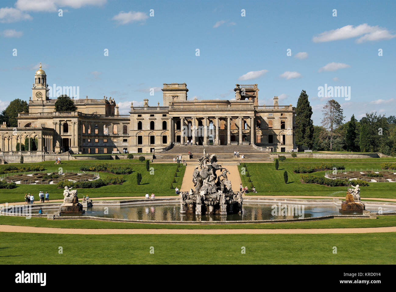 General view of Witley Court, Worcestershire, with the Perseus and Andromeda fountain in the foreground.  The 19th - Stock Image