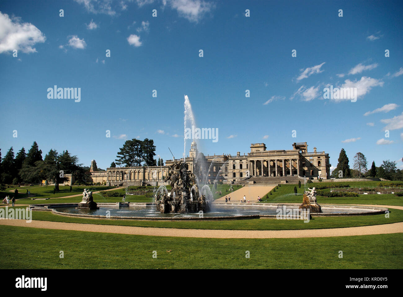 General view of Witley Court, Worcestershire, with the Perseus and Andromeda fountain in full flow in the foreground. - Stock Image