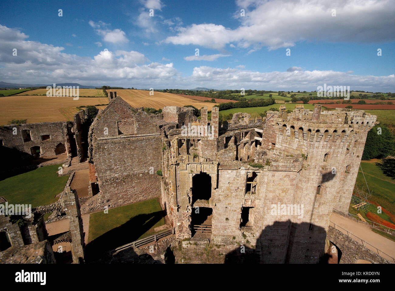 Raglan Castle near Raglan, Gwent, a military fortress built in the middle ages to defend the Welsh border against - Stock Image