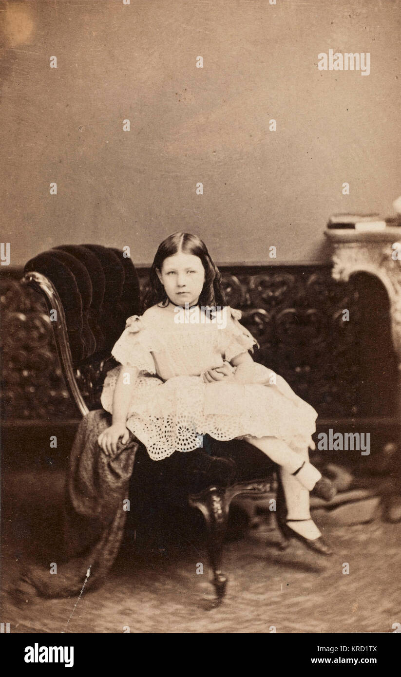 An upper class Victorian girl, Alice Polhill-Turner (Alice Kate Frances, 1856-1931), seen here at the age of six, - Stock Image