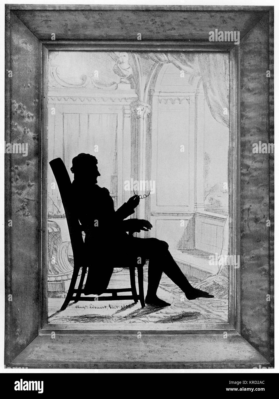 A signed portrait by the famous silhouette artist, August Edouart of James Sword Esql, of Armfield taken on May - Stock Image