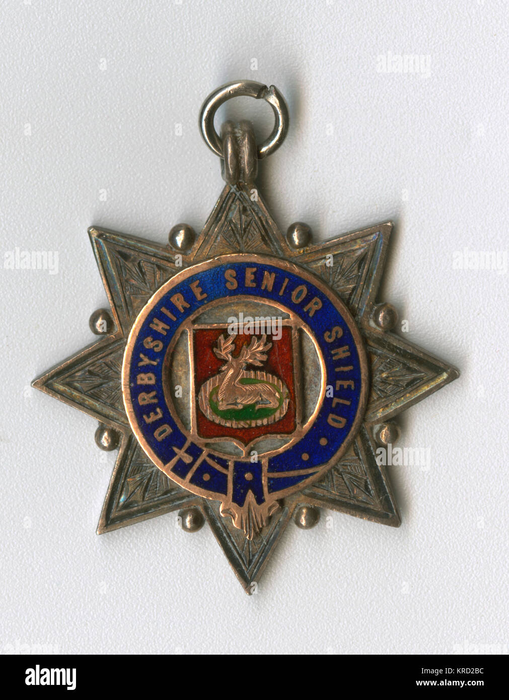Sports medal of the Derbyshire Senior Shield, awarded to the runners up in the 1908-1909 season.  A star-shaped - Stock Image