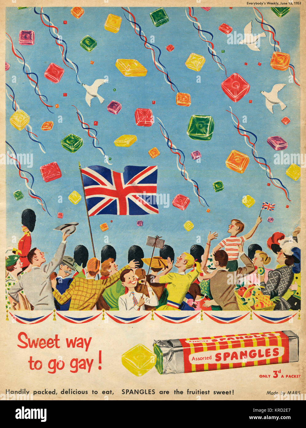 Lovely advertisement for Spangles fruit sweets - the sweet way to go gay - showing a crowd excitedly watching the - Stock Image