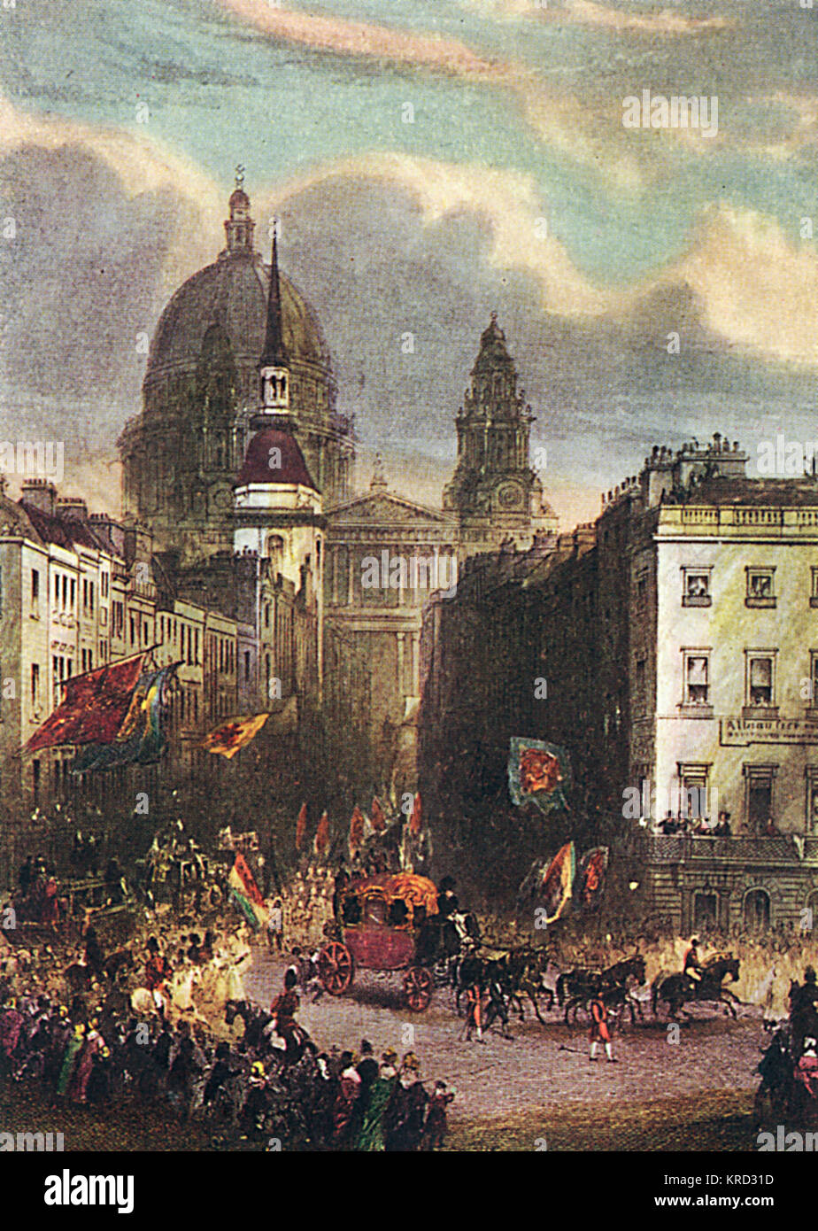 A royal procession down Fleet Street towards Ludgate Circus with the magnificence of St. Paul's Cathedral towering - Stock Image