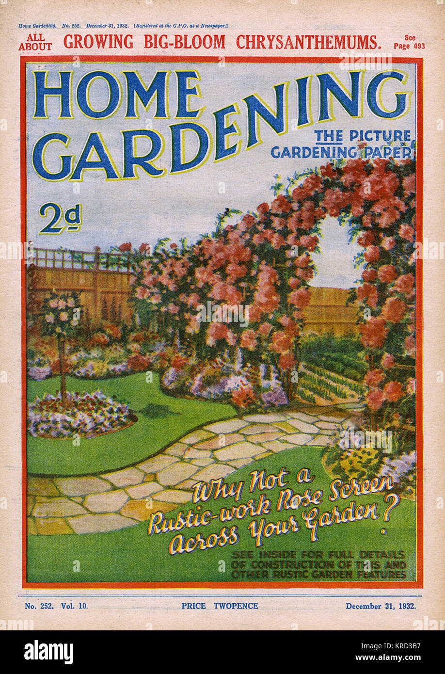 Front cover of Home Gardening magazine featuring a suggestion to create a rustic work rose screen across one's - Stock Image